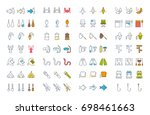 set vector line and color icons ... | Shutterstock .eps vector #698461663