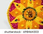flower rangoli for diwali or... | Shutterstock . vector #698464303