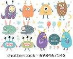 vector set of cute monsters.... | Shutterstock .eps vector #698467543
