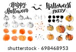 halloween watercolor hand drawn ... | Shutterstock . vector #698468953
