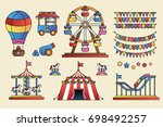 set of line icon circus... | Shutterstock . vector #698492257