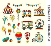 set of circus elements isolated ... | Shutterstock . vector #698495053