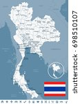 thailand map and flag   vector... | Shutterstock .eps vector #698510107