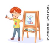 funny boy artist squinting... | Shutterstock .eps vector #698519353