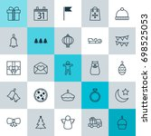 christmas icons set. collection ... | Shutterstock .eps vector #698525053