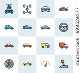 auto colorful outline icons set.... | Shutterstock .eps vector #698526577