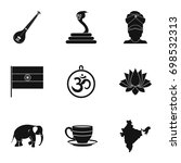 indian symbols icon set. simple ... | Shutterstock .eps vector #698532313