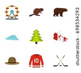 landmarks of canada icon set.... | Shutterstock .eps vector #698534293