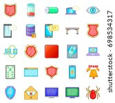 abduction of data icons set.... | Shutterstock .eps vector #698534317