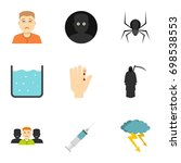 fears and phobias icon set.... | Shutterstock .eps vector #698538553