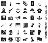 secret crime icons set. simple... | Shutterstock .eps vector #698539237