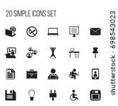 set of 20 editable bureau icons....