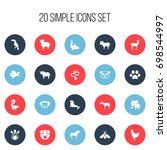 set of 20 editable zoology...   Shutterstock .eps vector #698544997