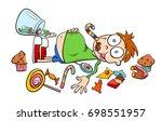 cartoon humorous concept... | Shutterstock . vector #698551957