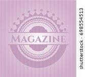 magazine vintage pink emblem | Shutterstock .eps vector #698554513