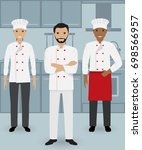 chef and two cook in uniform... | Shutterstock . vector #698566957
