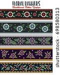 vector floral stripes... | Shutterstock .eps vector #698580313