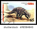 Small photo of STAVROPOL, RUSSIA - August 18, 2017: A stamp printed in Cuba shows dinosaur Sauropelta, circa 2005