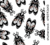 seamless pattern with moth dead ... | Shutterstock .eps vector #698592643