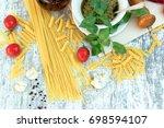 homemade basil pesto sauce on... | Shutterstock . vector #698594107