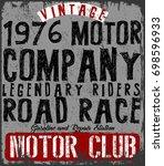 vintage motorcycle poster t... | Shutterstock .eps vector #698596933