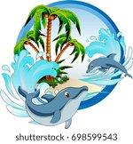 mascot logo dolphin   Shutterstock .eps vector #698599543