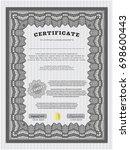 grey certificate. printer... | Shutterstock .eps vector #698600443