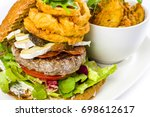 lamb burger with onion rings ... | Shutterstock . vector #698612617