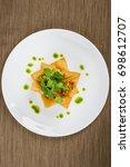 mexican chicken taco nachos... | Shutterstock . vector #698612707