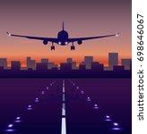 takeoff  plane landing ... | Shutterstock .eps vector #698646067