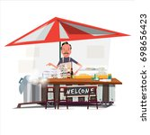 asian noodle cart style with a... | Shutterstock .eps vector #698656423