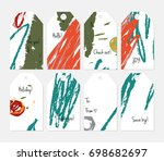 hand drawn creative tags.... | Shutterstock .eps vector #698682697
