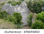 becan pyramid in campeche... | Shutterstock . vector #698696803