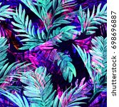 tropical neon floral palm leaf...   Shutterstock . vector #698696887