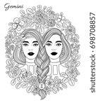 zodiac sign gemini woman. hand... | Shutterstock .eps vector #698708857