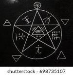 White Pentagram Symbol On The...