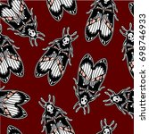 seamless pattern with moth dead ... | Shutterstock .eps vector #698746933