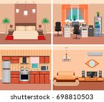 house interior living room ... | Shutterstock . vector #698810503