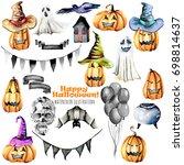set of watercolor halloween... | Shutterstock . vector #698814637