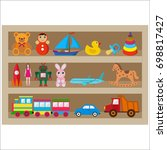 shelf with toys on a white... | Shutterstock . vector #698817427