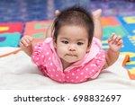 little kids sleeping on the... | Shutterstock . vector #698832697