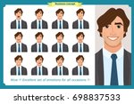 set of male facial emotions.... | Shutterstock .eps vector #698837533