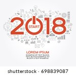 2018 text design on creative... | Shutterstock .eps vector #698839087