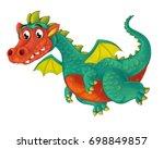 cartoon happy and funny dragon...   Shutterstock . vector #698849857