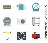house heater icon set. flat