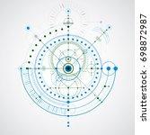 geometric technology drawing ... | Shutterstock . vector #698872987