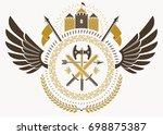 vintage heraldry design... | Shutterstock . vector #698875387