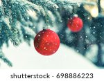 close up of red christmas... | Shutterstock . vector #698886223