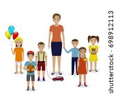 group of children with toys and ... | Shutterstock . vector #698912113