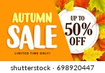 autumn sale banner design with... | Shutterstock .eps vector #698920447